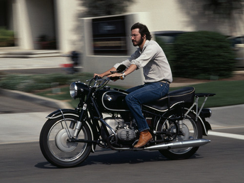 Apple CEO Steve Jobs riding a 1966 R60/2