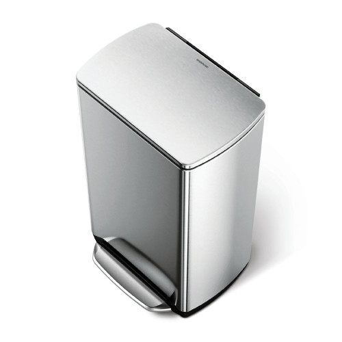 simplehuman 46L Steel Wide-Step Rectangular Recycler