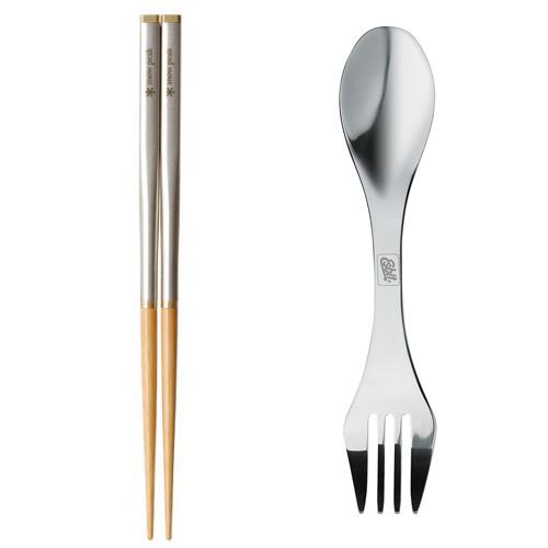 Snow Peak Carry On Chopsticks & Esbit Stainless Steel Cutlery 2 in 1